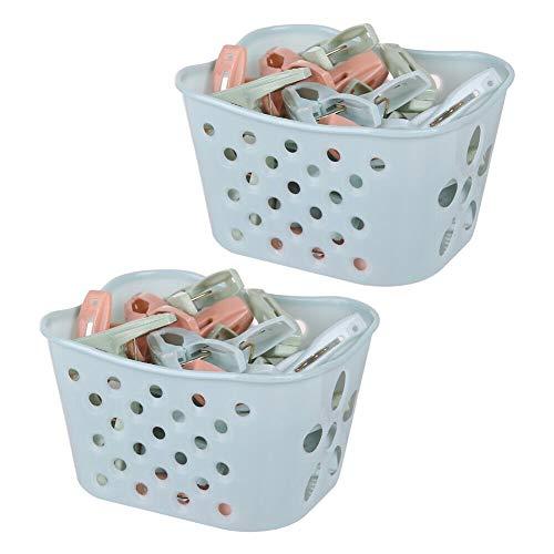 Xinvivion Pinzas para Ropa de Plástico Pinzas para Ropa Bastidores de Secado Clip de Sujeción Colcha para Colgar Toallas con Cesta...