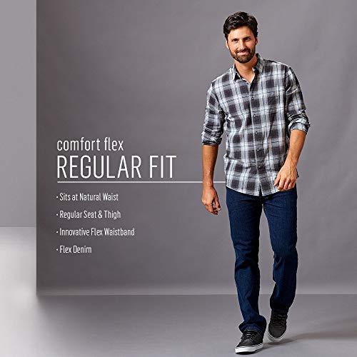 Wrangler Authentics Men's Regular Fit Comfort Flex Waist Jean, Dark Stonewash, 42W x 29L