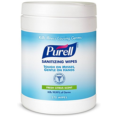 Purell Sanitizing Hand Wipes, 6 x 6 3/4', White, 270 Wipes/Canister