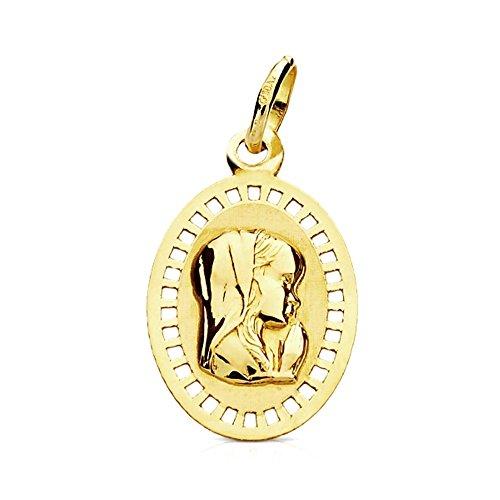 Médaille pendentif 9K or Virgen Niña Marco Ovalado 19mm. [Ab3221Gr] - personnalisable - enregistrement inclus dans le prix