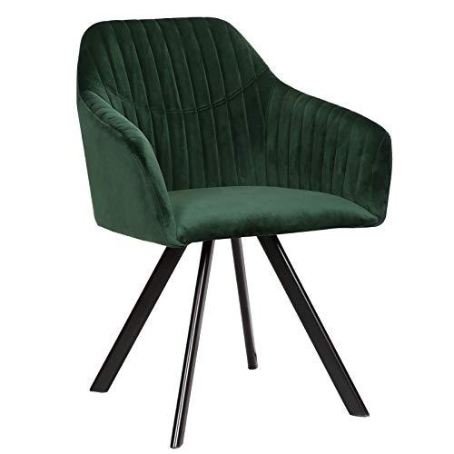 WOLTU Esszimmerstühle BH150gn-1 1x Küchenstuhl Wohnzimmerstuhl Polsterstuhl mit Armlehen Design Stuhl Samt Metall Grün