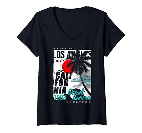 Mujer Retro Los Ángeles California West Coast Endless Verano 1993 Camiseta Cuello V