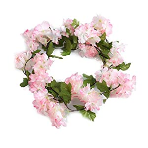 ZhiXu Artificial Rose Cherry Blossoms Fake Garland Ivy Flowers Silk Hanging Garland Plants for Home Wedding Party Decorations,7.5FT (Pink)