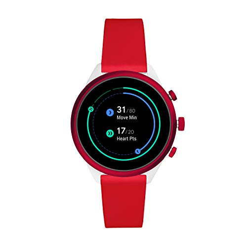 Fossil Women's Sport Heart Rate Metal and Silicone Touchscreen Smartwatch, Color: White, Red (Model: FTW6052)