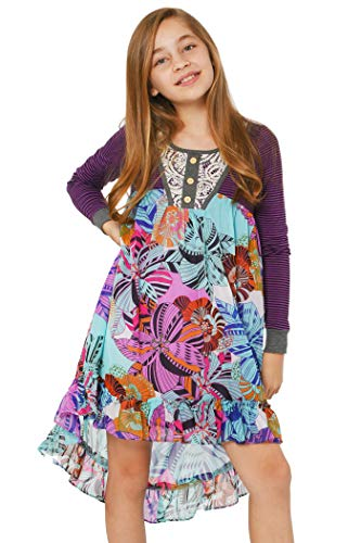 Truly Me, Big Girls' Long Sleeve Printed High-Low Dress with Lace Embellishment, Size 7-16 (Purple Multi, 14)