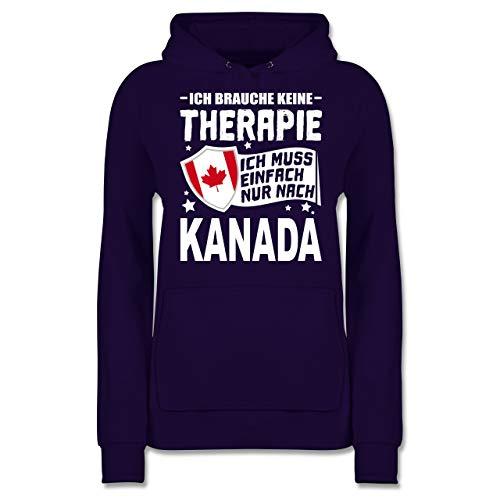 Länder - Ich Brauche Keine Therapie Ich muss einfach nur nach Kanada - weiß - XXL - Lila - Kanada Geschenke Frauen - JH001F - Damen Hoodie und Kapuzenpullover für Frauen