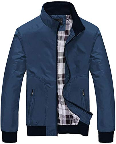 SSSQUN Men's Casual Pure Color Jacket Baseball Jackets Mens Autumn Fashion Patchwork Zipper Outwear Coat M-4XL