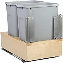 Knape & Vogt WUSC15-2-35PT 19 in. H x 14 in. W x 23 in. D Wooden 35 Qt. Undermount Double Soft-Close Pull Out Trash Can in Gray, Pewter