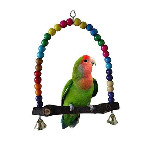 Kicode Columpio de Madera Colorido Juguete de pájaro Parrot Cage Periquito Periquito Cockatiel Lovebird Budgie Conure Perches Proveedor de Mascotas