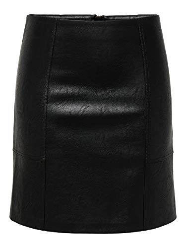 ONLY Damen Rock Kunstleder 36Black