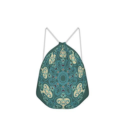 NC83 Set van 6 smaragd mandela trekkoord rugzak vintage polyester sporttassen outdoor voor meisjes jongens kinderen 41 x 34 cm (aanpasbaar/groothandel) Eén maat wit