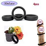 XinLace-EUR Schwarzer medizinischer Grad 4pcs Qualitätssilikonkreis verwendbar für mehrfache Größen, Mann-Silikon-Massage-Ring