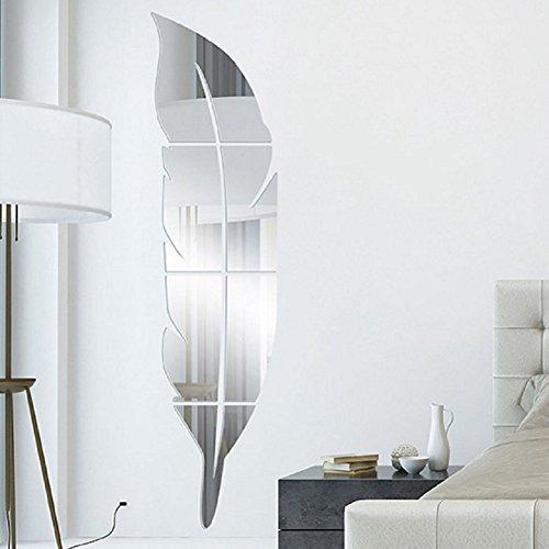 Toifucos - Espejo adhesivo de pared, acrílico, para bricolaje, en 3D, con forma de pluma, decoración de pared, para niños, dormitorio, salón, casa (plata)