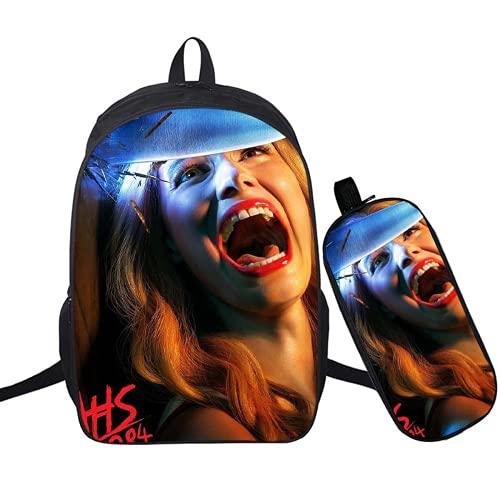 American Horror Story - Mochila escolar, unisex, material de nailon, gran capacidad, puede contener un iPad de 15 pulgadas., Horror15 (Negro) - RG-455DF4