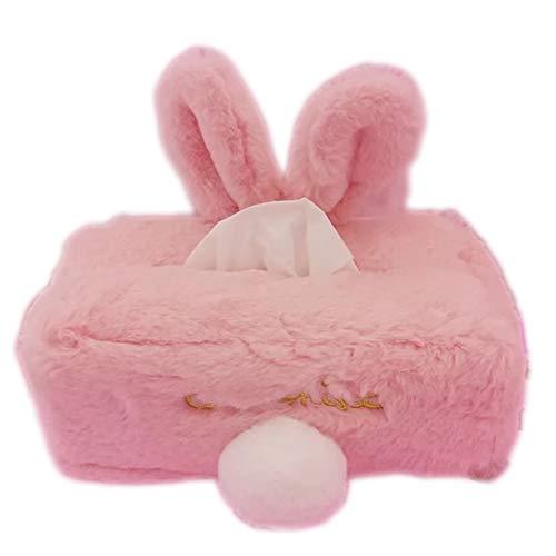 aoory - Porta fazzoletti a Forma di Coniglio, per Auto, Divano, Camera da Letto, Colore: Rosa Rosa