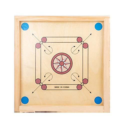 jaspenybow Carrom Board, Carom Game Board und Carrom Board Coins and Striker, rundes gratfreies Holzbrett Puzzle-Brettspiel für Zwei Spieler, Carrom Board Set für interaktive Eltern-Kind-Spielzeuge