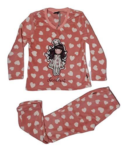 Santoro Pijama Manga Larga Calentito Love Heart para Mujer, Color Frambuesa, Talla M
