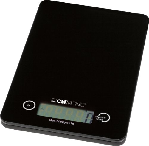 Clatronic KW 3366 Báscula de cocina digital, 5 kg pasos 1 g, función tara, color negro, Vidrio