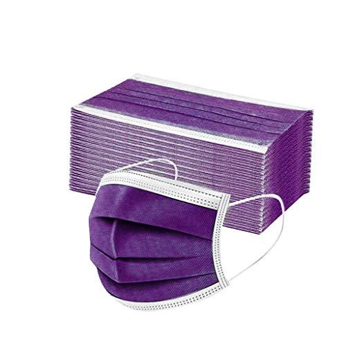 50 Stück Einmal-Mundschutz Mundbedeckung Erwachsene 3-lagig Atmungsaktiv Mund und Nasenschutz Bedeckung Multifunktionstuch Halstuch (50pcs, Lila)