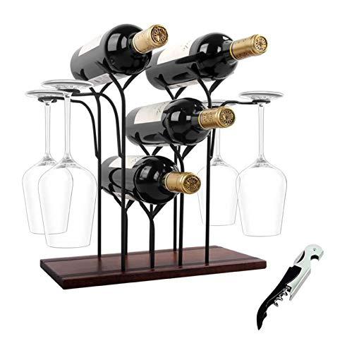 lcy Encimera de Estante de Vino, sostenga 4 Botellas y 4 Gafas, Estante de Madera del Vino, Perfecto for la decoración del hogar y la Cocina, el Bar, la Bodega, el gabinete, la despensa