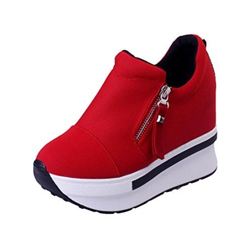 Vectry Sportschuhe Damen Kinder Mädchen Air Mit Keilabsatz Damenschuhe Sneaker Pumps Stiefeletten Sandalen Flach, Erhohung der Hore Wedges Stiefel Plattform Slip On Ankle (EU38/CN39, Rot)