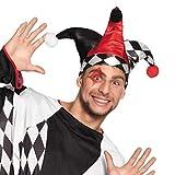 NET TOYS Bunte Narrenkappe Hofnarr | Hutgröße 59 | Ausgefallene Herren-Kopfbedeckung Zirkus-Harlekin | Wie geschaffen für Fasching & Karneval