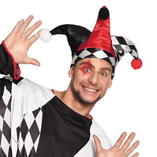 NET TOYS Colorido Gorro de bufón | Talla de Sombrero 59 | Increíble Gorro de Arlequín de Circo para Caballero | Apropiado para carnavales y Festivales