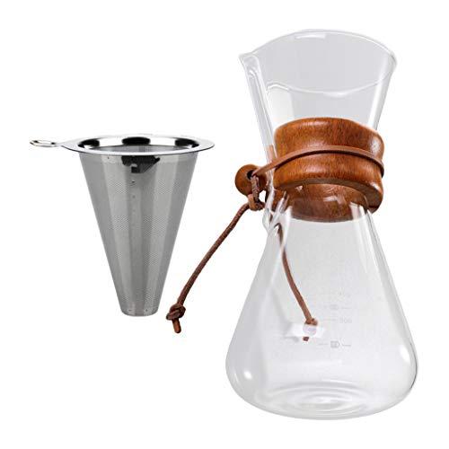 Fenteer 600ML Multifunctionl Haute Borosilicate Verre Café Pot Main Goutte À Goutte Café Verser sur Théière Pot À Base de Plantes Anti-brûlure avec café - 600ml avec Filtre