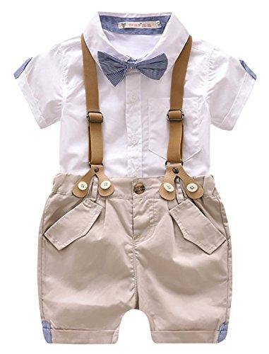 Luoting - 4pcs Conjunto de Ropa de Bautizo Camiseta Pantalones Cortos para Bebé Niño Smoking Elegante - Talla 110