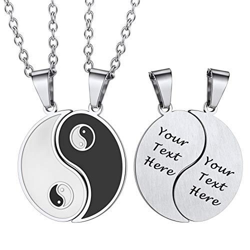 PROSTEEL Partner Halsketten Edelstahl personalisiert Yin und Yang Puzzle Anhänger mit 50+5cm verstellbare Rolokette Taichi Bagua Talisman Modeschmuck Accessoire für Männer Frauen