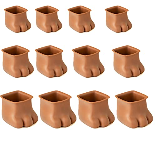 Chair Leg Protectors for Hardwood Floors,Silicone Chair Leg Caps Feet Pads,Furniture Table Covers Floor Protectors,to Prevent Scratches and Noise,Fits Round and Square Furniture Feet (Brown Square)