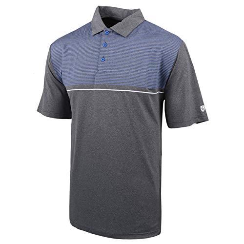 Island Green Mens Golf Stripe Breathable Moisture Wicking Flexible Polo Shirt Grey MarlWhite L