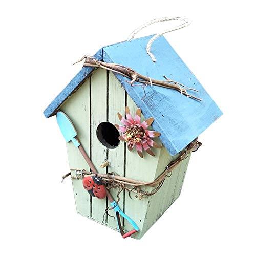 HTYG Boîte de Nid d'oiseaux-nichoir décoratif en Bois avec Corde de Chanvre Suspendue-pour Balcon-décor de Jardin de Cour-Maison Ameublement Décoration (Pas Un Vrai nichoir) (C)