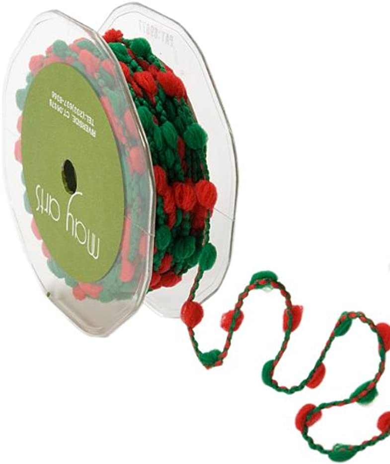 May Arts 3/8-Inch Wide Ribbon, Red and Green Pom Poms