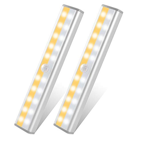 Under Cabinet Lighting, USB Rechargeable 20 LED Wireless Closet Light 3 Lighting Modes Motion Sensor Cabinet Light, Magnetic Removable Stick-On Anywhere Lights for Stairs,Cupboard,Wardrobe,2 Pack