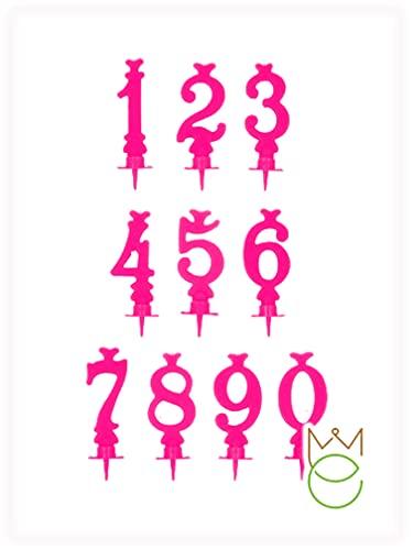 Doppia candela di colore fucsia con supporto, per torte di compleanno a forma di numero (29)