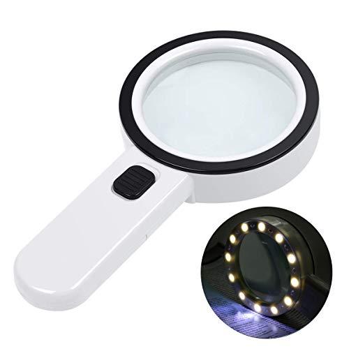 Leselupe mit Licht,CestMall 30X Handlupe mit 30 LED, Beleuchtete Leselupen Lupe Vergrößerungsglas 80mm Doppelglas Linse für Senioren Lesebuch Magazinen Zeitungen Landkarten