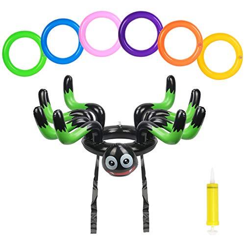 ZERHOK Juego de Lanzamiento de Halloween Sombrero Inflable de Araña con 6 Anillos de Colores Regalo de Fiesta para Niños Adultos Interior Exterior Juguete Jardín