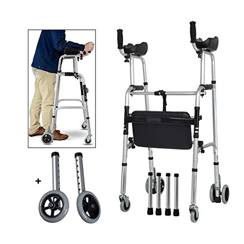 IWQTO FKDEWALKER Aluminium Folding Walking Frame,Walking Mobility Aid,Wheeled Walker with Seat and Arm Rest,Lower Limb Trainer,S.