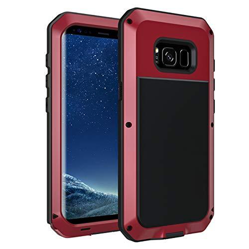 seacosmo S8 Hülle, Tough Armor Aluminium Handyhülle Samsung Galaxy S8 Doppelte Schutz Stoßfest Case Outdoor Schutzhülle für S8, Rot
