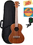 Kala KA-T Mahogany Tenor Ukulele Bundle with Gig Bag, Clip-On Tuner, Austin Bazaar Instructional DVD, and Polishing Cloth