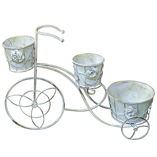 ESTEAR Bicycle Plant Flower Stand Vintage Flower Pot Ornaments Metal Flower Stand Planter Flower Holder For Indoor Outdoor Home Garden Patio Decor Distressed White