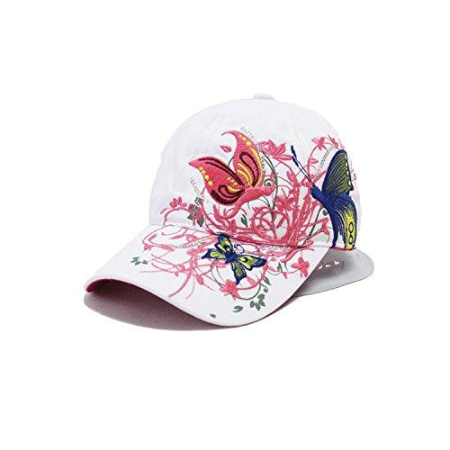 Leisial Gorra de Béisbol de Señora del Verano Patrón de Bordado de Mariposa Sombrero de Sol de Hip Hop Aire Libre Gorro Visor para Mujeres Chicas