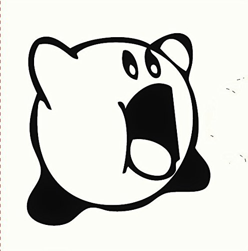 Kirby Open Mouth 5' Tall Decal Sticker for Cars Laptops Tablets Skateboard Nintendo - Black