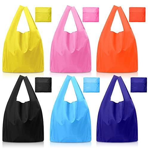エコバッグ 6個入り 折りたたみ 買い物袋 ショッピング バッグ 防水 コンパクトバッグ 耐荷6kg 軽量 頑丈 ポリエステル100% 水洗い 繰り返し可 旅行/ショッピング/日用品収納用 By LASOLL