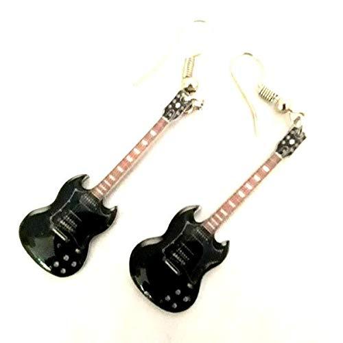 Muzieklegende Collectie RVS gitaar gevormde oorbellen - Angus Young - AC/DC