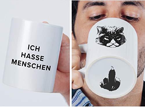Premium 'Ich hasse Menschen' Tasse mit Katzen-Motiv, bruchsicher verpackt  witzige...