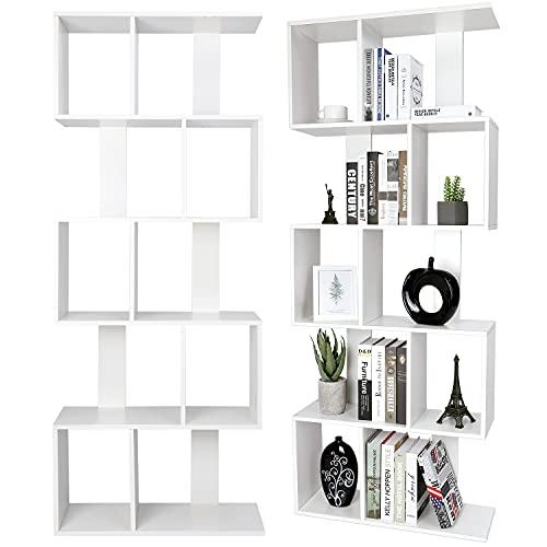 Bücherregale aus Holz, freistehender Schrank, 5 Ebenen der Aufbewahrung - Dimension 175 * 70 * 23,5 cm - S-förmige Aufbewahrungsregale für Wohnzimmer, Schlafzimmer, Büro ( Weiß)