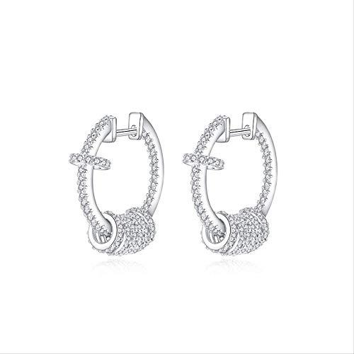 Women's Silver Hoop Earrings With Multi-layer Sparkling Cubic Zirconia Diamonds Sterling Silver Earrings For Women Fashion Jewelry Gifts Sterling Silver Hoop Earrings