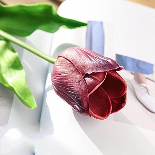 Ramo de simulación de tulipán Flor Falsa Flor de Seda Flor de plástico Floral Seca-Vino Rojo 5 Piezas